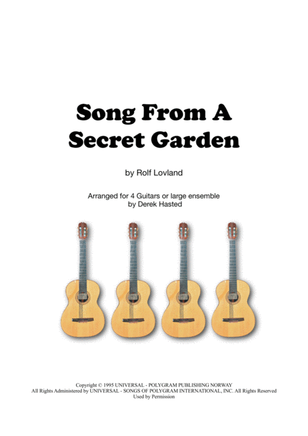 Song From A Secret Garden Guitar Quartet Large Ensemble
