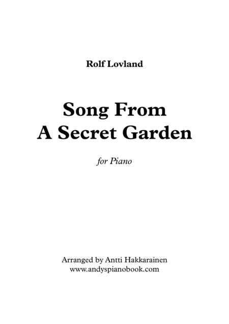 Song From A Secret Garden Piano