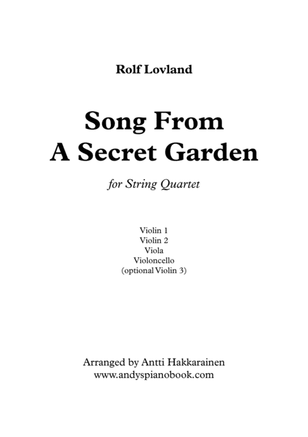 Song From A Secret Garden String Quartet