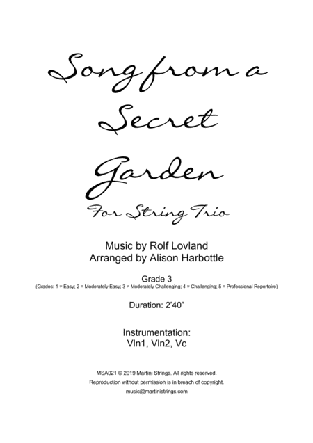 Song From A Secret Garden String Trio