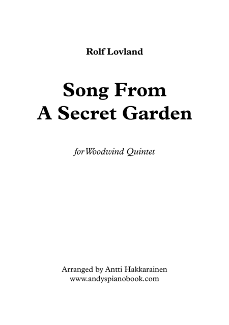Song From A Secret Garden Woodwind Quintet
