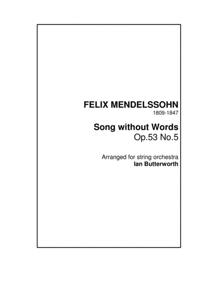 Song Without Words Op 53 No 5 For String Orchestra