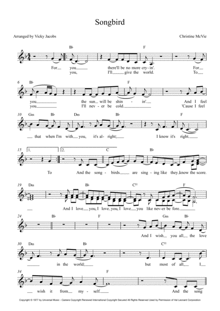 Songbird Lead Sheet For Singalongs