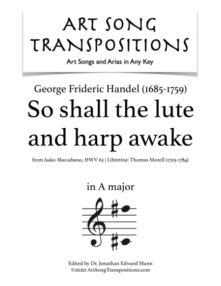 So Shall The Lute And Harp Awake Transposed To A Major