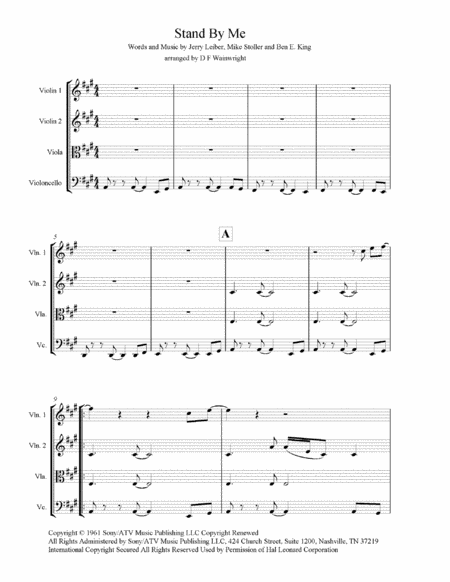 Stand By Me Arranged For String Quartet Score And Parts With Rehearsal Letters And Mp3