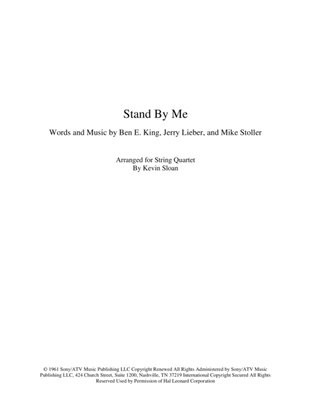 Stand By Me Arranged For String Quartet