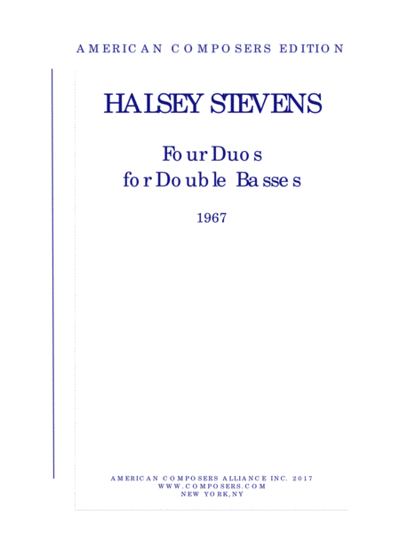 Stevens Four Duos For Double Basses