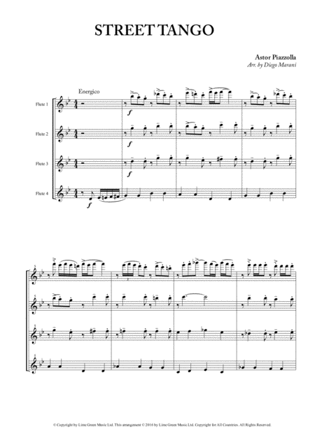 street tango for flute quartet free music sheet - musicsheets.org  music sheet library for all instruments