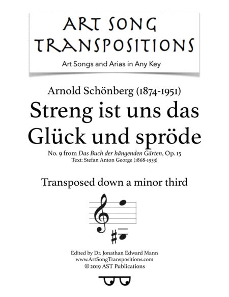Streng Ist Uns Das Glck Und Sprde Op 15 No 9 Transposed Down A Minor Third