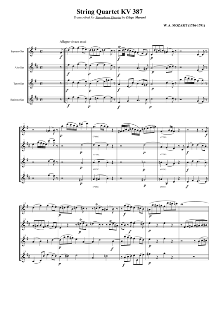 String Quartet Kv 387 Spring For Saxophone Quartet Satb