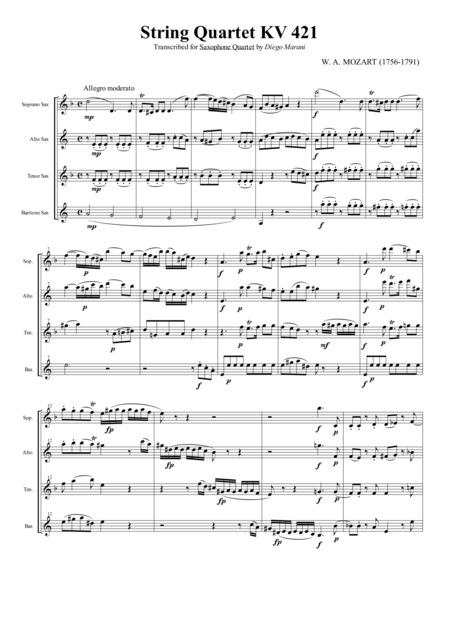 String Quartet Kv 421 For Saxophone Quartet Satb