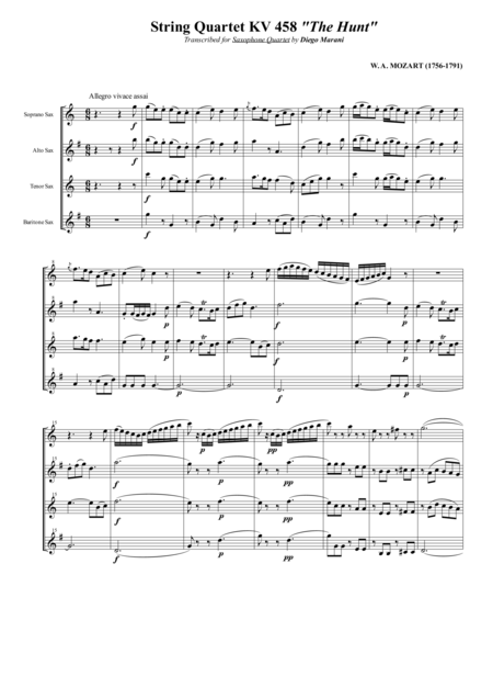 String Quartet Kv 458 The Hunt For Saxophone Quartet Satb