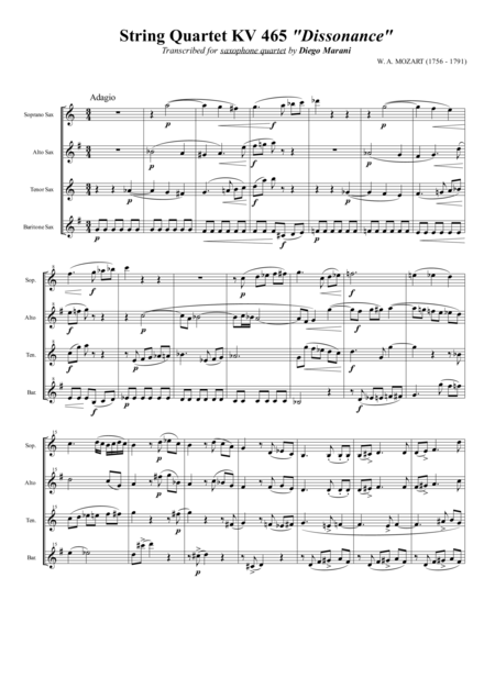 String Quartet Kv 465 Dissonance For Saxophone Quartet Satb