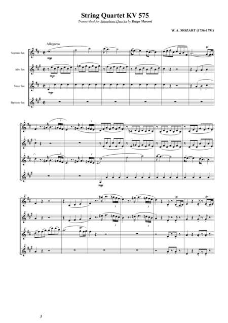 String Quartet Kv 575 For Saxophone Quartet Satb