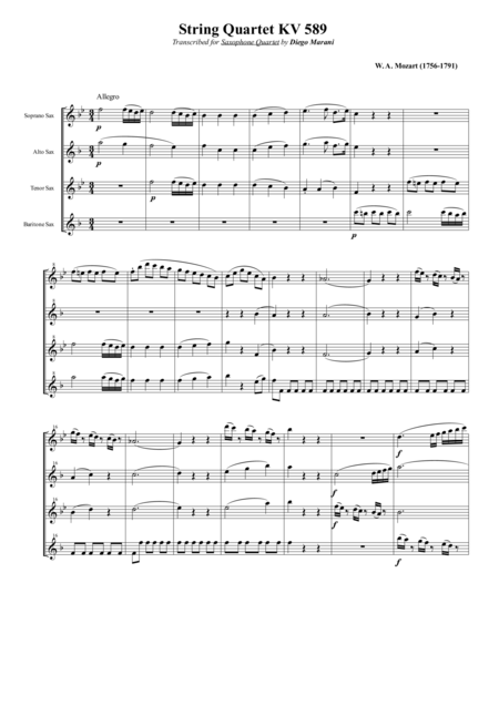 String Quartet Kv 589 For Saxophone Quartet Satb