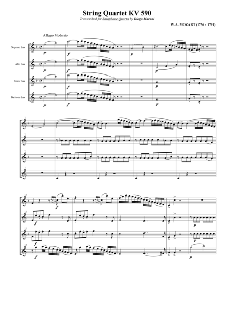 String Quartet Kv 590 For Saxophone Quartet Satb