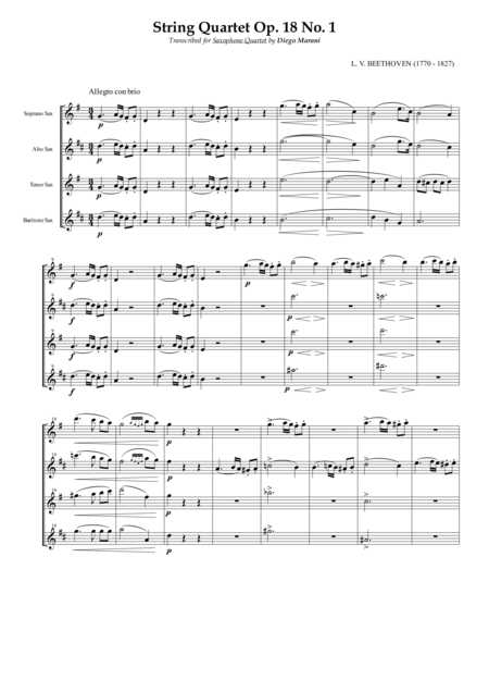 String Quartet Op 18 No 1 For Saxophone Quartet Satb