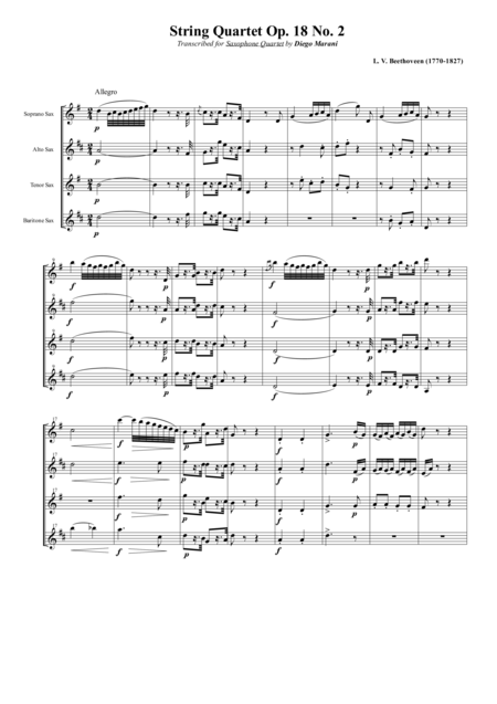 String Quartet Op 18 No 2 For Saxophone Quartet Satb