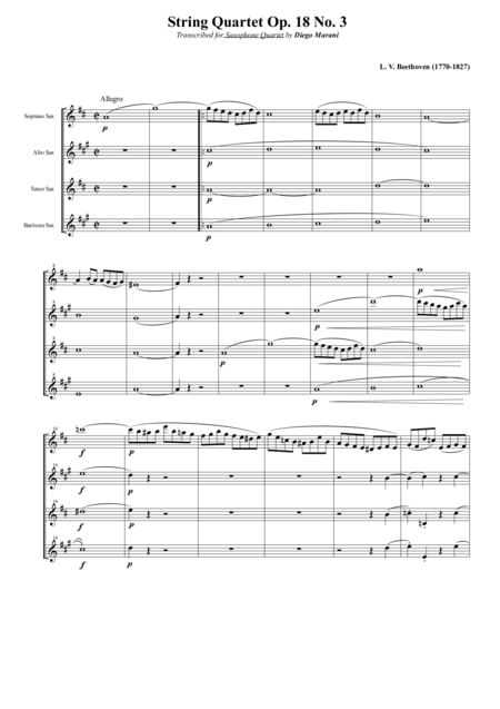 String Quartet Op 18 No 3 For Saxophone Quartet Satb