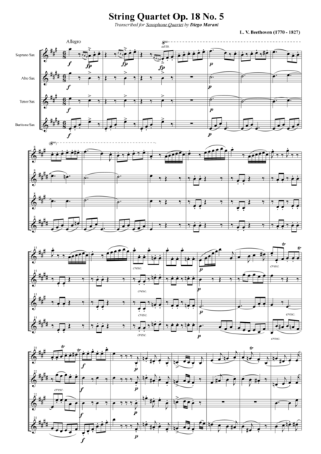 String Quartet Op 18 No 5 For Saxophone Quartet Satb