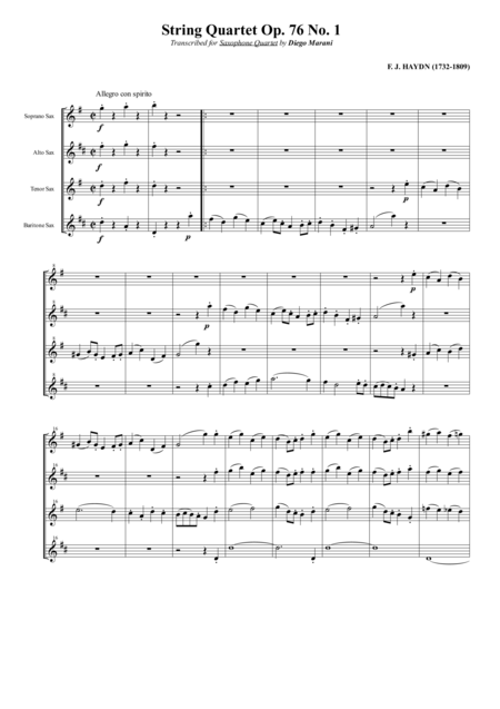 String Quartet Op 76 No 1 For Saxophone Quartet Satb