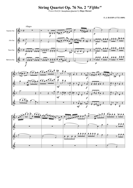 String Quartet Op 76 No 2 Fifths For Saxophone Quartet Satb