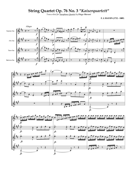String Quartet Op 76 No 3 Emperor For Saxophone Quartet Satb