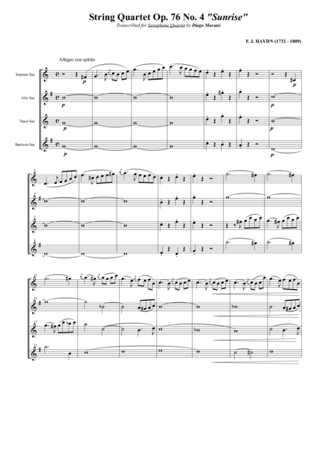 String Quartet Op 76 No 4 Sunrise For Saxophone Quartet Satb