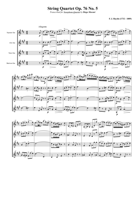 String Quartet Op 76 No 5 For Saxophone Quartet Satb