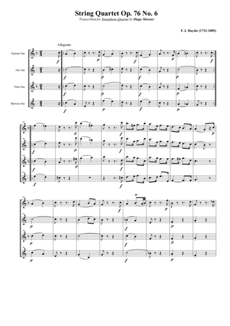String Quartet Op 76 No 6 For Saxophone Quartet Satb