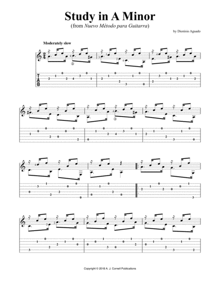 Study In A Minor From Nuevo Mtodo Para Guitarra