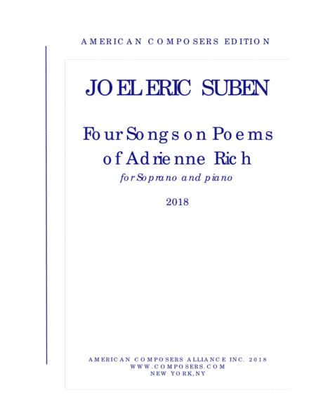 Suben Four Songs On Poems Of Adrienne Rich