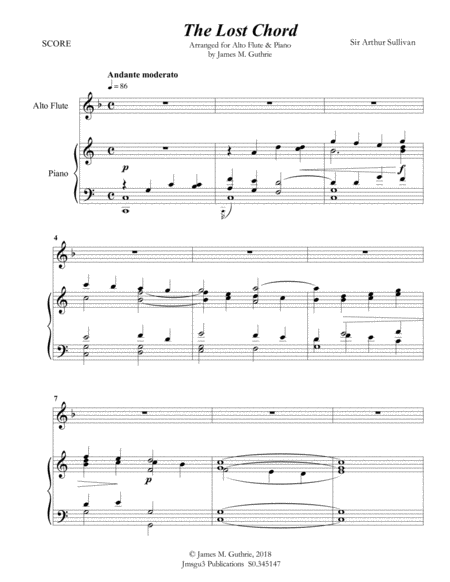 Sullivan The Lost Chord For Alto Flute Piano