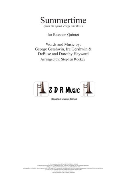 Summertime For Bassoon Quintet