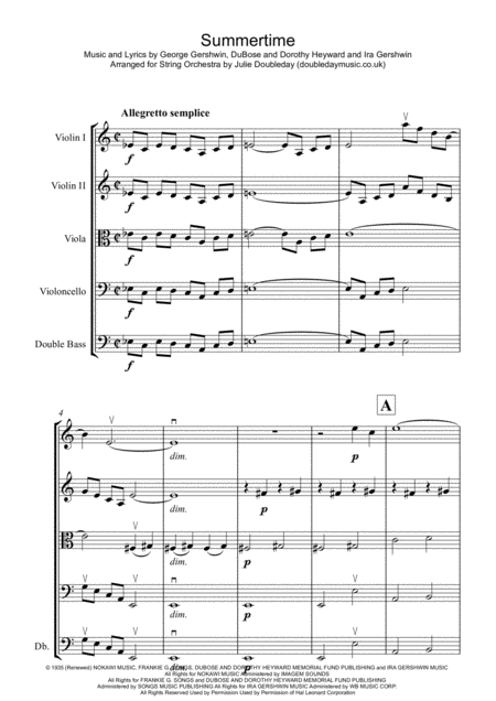 Summertime For String Orchestra Score And Parts