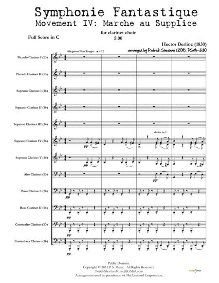 Symphonie Fantastique Mvt Iv March To The Scaffold For Clarinet Choir Full Score Set Of Parts