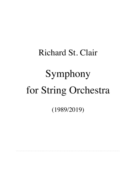 Symphony For String Orchestra Score And Parts