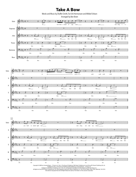 Take A Bow Satb Version