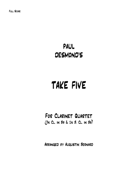 Take Five For Clarinet Quartet