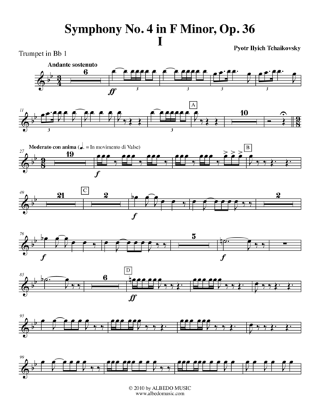 Tchaikovsky Symphony No 4 Movement I Trumpet In Bb 1 Transposed Part Op 36