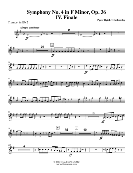 Tchaikovsky Symphony No 4 Movement Iv Trumpet In Bb 2 Transposed Part Op 36