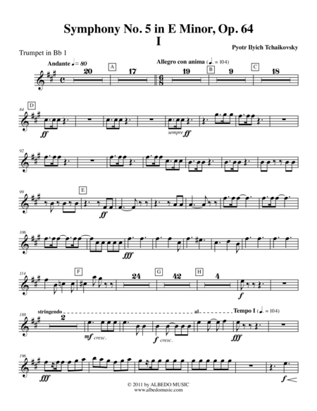 Tchaikovsky Symphony No 5 Movement I Trumpet In Bb 1 Transposed Part Op 64