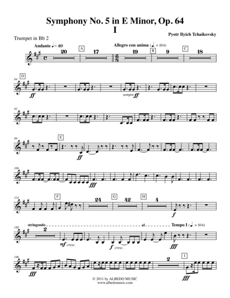 Tchaikovsky Symphony No 5 Movement I Trumpet In Bb 2 Transposed Part Op 64