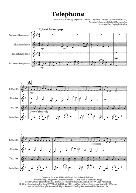Telephone By Lady Gaga And Beyonce Saxophone Quartet Satb