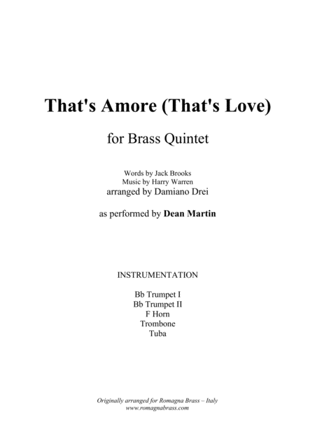 Thats Amore Thats Love For Brass Quintet