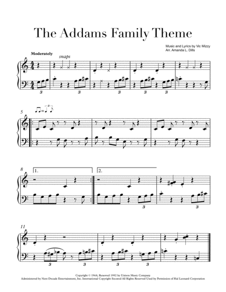 The Addams Family Theme Easy Piano