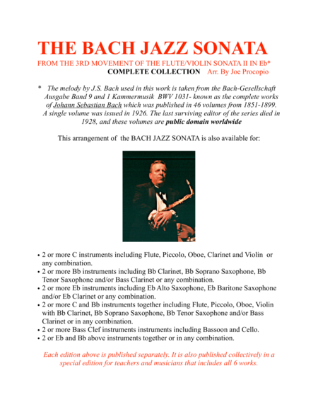 The Bach Jazz Sonata From The 3rd Movement Of The Flute Violin Sonata Ii In Eb Complete Collection Arr By Joe Procopio