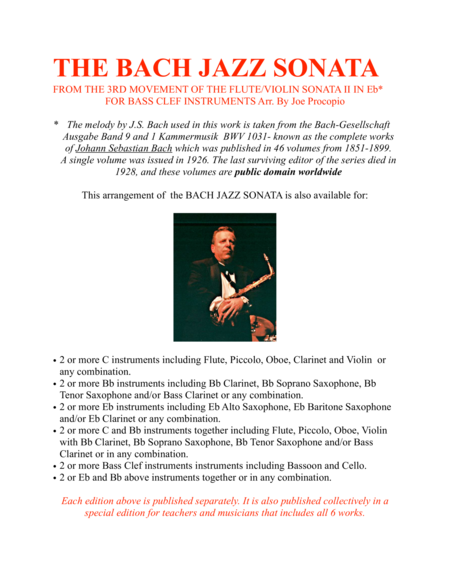 The Bach Jazz Sonata From The 3rd Movement Of The Flute Violin Sonata Ii In Eb For Bass Clef Instruments Arr By Joe Procopio