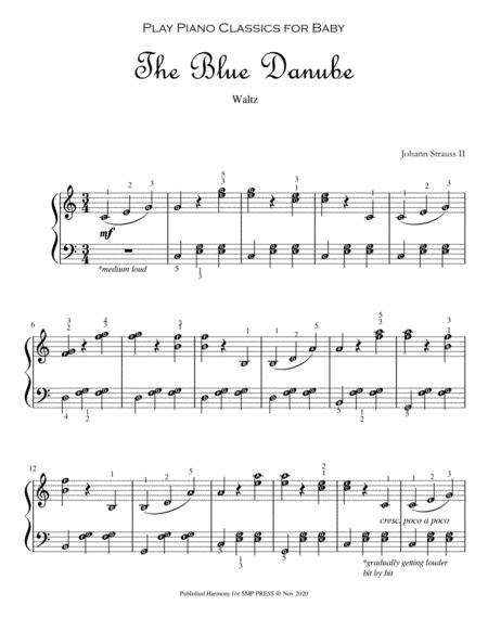 The Blue Danube Play Piano Classics For Baby Piano Solo Grade 2 With Note Names And Finger Numbers
