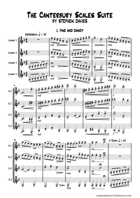 The Canterbury Scales Suite By Stephen Davies For Clarinet Quartet